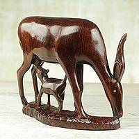 Ebony wood statuette, 'Antelope Motherhood' - Hand Carved Ebony Statuette of Antelope Mother and Calf