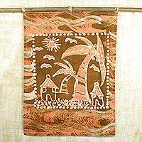Cotton batik wall hanging, 'Home Again' - Hand-dyed 'Home Again' Cotton Wall Hanging from Ghana