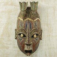 African wood mask, 'Blessed Doves' - Multicolored Hand Carved African Wood Wall Mask with Doves
