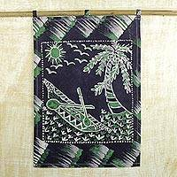 Cotton batik wall hanging, 'Fishing Canoe' - Handcrafted African Batik Wall Hanging in Blue and Green