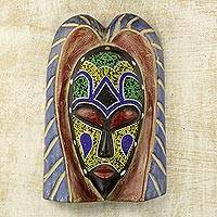 African beaded wood mask, 'Hausa Angel' - Handmade Original Beaded Wood Hausa Angel African Wall Mask