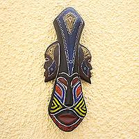 African wood mask, 'Glorious Work' - Beaded Wood Three Faced African Wall Mask Crafted by Hand