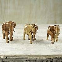 Wood figurines, 'Elephant Trio' (set of 3) - Three Hand Crafted Rosewood Elephant Figurines from Ghana