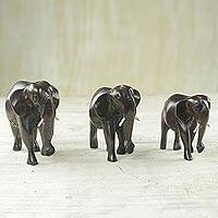 Wood figurines, 'Elephant Trio in Black' (set of 3) - Three Black Rosewood Elephant Figurines from Ghana