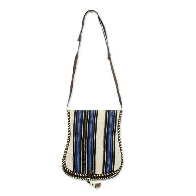 Azure on Off White Stripes Cotton Shoulder Bag with Leather