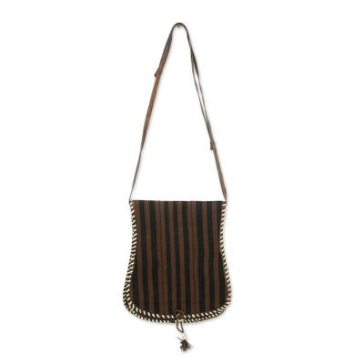 Brown and Black Stripe Cotton Shoulder Bag with Leather