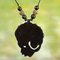 Wood pendant necklace, 'Mama Africa' - Mama Africa Jewelry Pendant Necklace in Hand Carved Wood