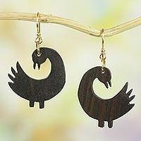 Wood dangle earrings, 'Returning Birds' - Handmade Sese Wood Bird-Themed Dangle Earrings from Ghana