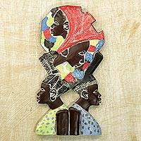 Wood relief panel, 'Women in Unity' - Sese Wood Wall Relief Panel of African Women from Ghana
