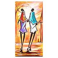 'Fresh Couple' - Signed Expressionist Painting of a Village Couple from Ghana