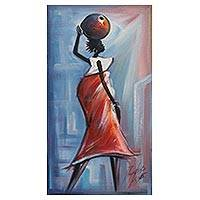 'Good Morning' - Signed Art Expressionist Painting of a Woman from Ghana