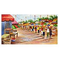 'Market Profile' - Signed Impressionist Painting of an African Market Scene