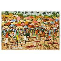 'Market View' - Signed Art Impressionist Painting of a Ghanaian Market Scene