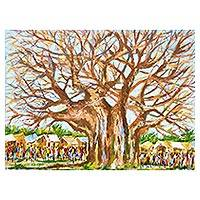 'Village Scape' - Signed Impressionist Painting of a Village Tree from Ghana