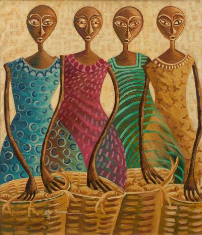 Signed Ghanaian Modern Freestyle Painting of Women with Fish