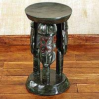 Cedar wood stool, 'United Family in Green' - Cedar Wood and Aluminum Round Adrinkra Symbol Stool