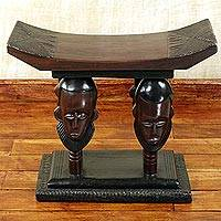 Cedar wood throne stool, 'United Household' - Handmade Ghanaian Cedar Wood Throne Stool With Faces