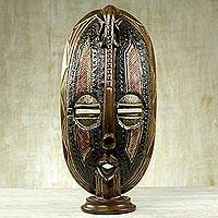 African wood mask, 'Elephant Memory' - Original African Table Top Mask with Elephant Accent