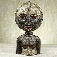 Wood sculpture, 'Balumba Faces' - Sese Wood and Aluminum Two Face Sculpture from Ghana