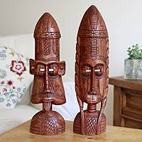 Ashanti wood masks, 'Ancestral' (pair) - Ashanti Wooden Masks