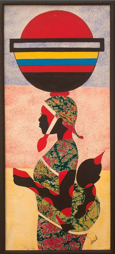 Oil and Batik Calico Painting of a Ghanaian Mother and Child