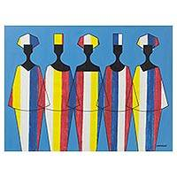 'Couture Show' - Colorful Signed Cubist Painting of People from Ghana