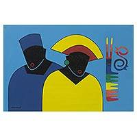 'Combined Fashion' - Signed Cultural Cubist Painting of Two People from Ghana