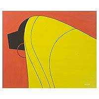 'Covered in Veil' - Yellow and Orange Tone Cubist Painting of a Ghanaian Woman