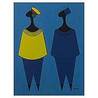 'French People' - Blue-Tone Signed Cubist Painting of Two People from Ghana