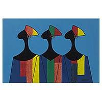'Ladies Boutique' - Signed Multicolored Ghanaian Cubist Painting of Three Women
