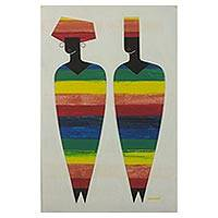'African Dress' - African Multicolored Cubist Painting of People from Ghana