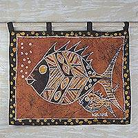 Cotton batik wall hanging, 'Nye Ke Bi' - Hand Crafted Batik Wall Hanging Cotton