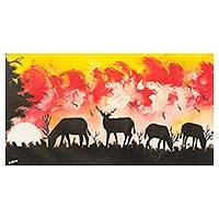 'Antelope Sunset II' - Original Signed African Antelope Landscape Painting