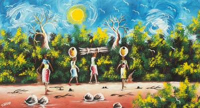 'Dedication II' - Original Signed Painting of Ghanaian Women Fetching Water