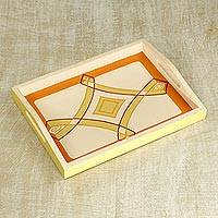 Wood tray, 'Beige Diamond' - Artisan Crafted Handled Sese Wood Tray in Beige from Ghana