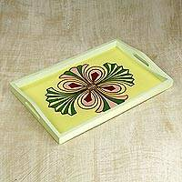 Wood tray, 'Complex Cross' - Hand Crafted Sese Wood Tray in Yellow with Cross from Ghana
