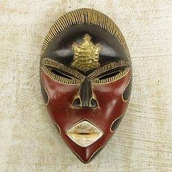 African wood mask, 'Rustic Tortoise' - African Sese Wood Turtle Mask in Red and Black from Ghana