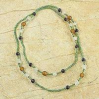 Sese wood and recycled glass beaded necklace, 'Casual Mint' - Ghanaian Sese Wood and Recycled Glass Beaded Wrap Necklace