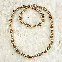 Wood beaded necklace, 'Adipa Joy' - Hand Crafted Sese Wood Beaded Necklace by Ghanaian Artisans