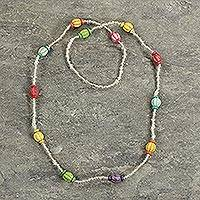 Recycled glass beaded necklace, 'Casual Colors' - Multicolored Recycled Glass Beaded Necklace from Ghana
