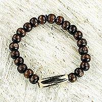 Wood and bone beaded stretch bracelet,