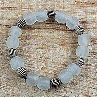 Recycled glass beaded stretch bracelet, 'Sedinam Beads' - Recycled Glass and Acrylic Beaded Bracelet in Earth Tones