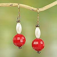 Recycled plastic dangle earrings, 'Dziedzorm Woman' - Recycled Plastic Dangle Earrings in Red and White from Ghana
