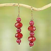 Recycled plastic dangle earrings, 'Ahomka Experience' - Recycled Plastic Dangle Earrings in Red and Pink from Ghana