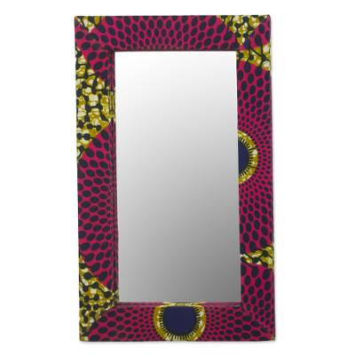 Cotton and Sese Wood Mirror in Deep Rose and Gold from Ghana