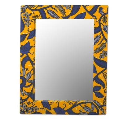 Ghanaian Cotton and Sese Wood Mirror in Daffodil and Lapis
