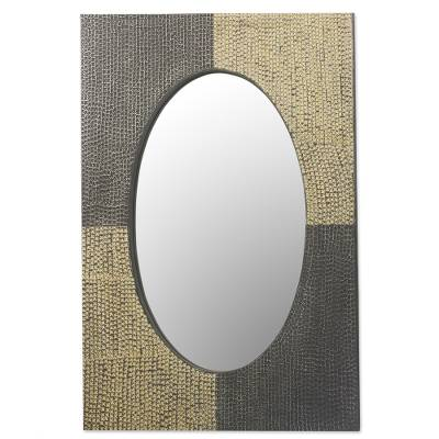 Artisan Crafted Aluminum and Wood Wall Mirror from Ghana