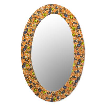 Cotton and Sese Wood Multicolored Floral Mirror from Ghana