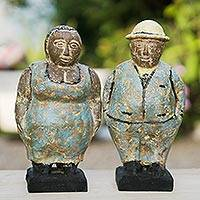 Ceramic figurines, 'Charming Couple in Blue' (pair) - Two Ceramic Figurines of a Man and Woman from Ghana