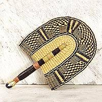 Leather accent raffia fan, 'Savanna Comfort' - Handcrafted Leather Accent Raffia Fan from Ghana